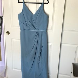 Blue Wrap Gown Floor Length